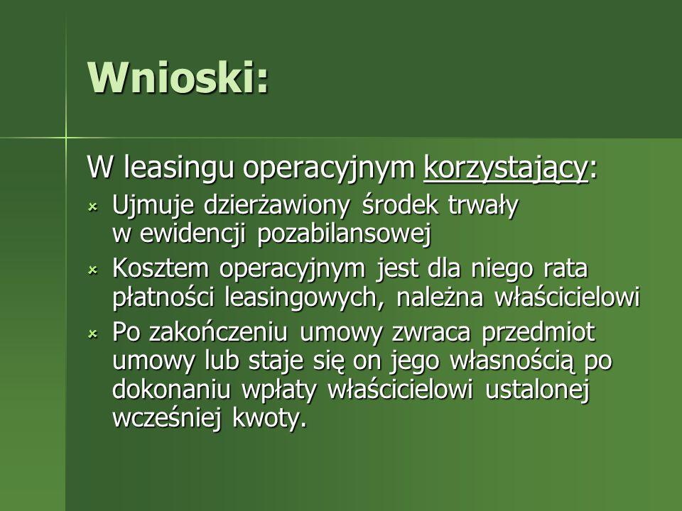 Wnioski: W leasingu operacyjnym korzystający: