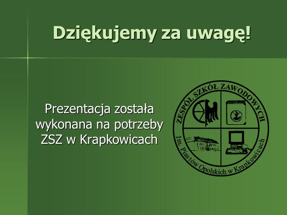 Prezentacja została wykonana na potrzeby ZSZ w Krapkowicach