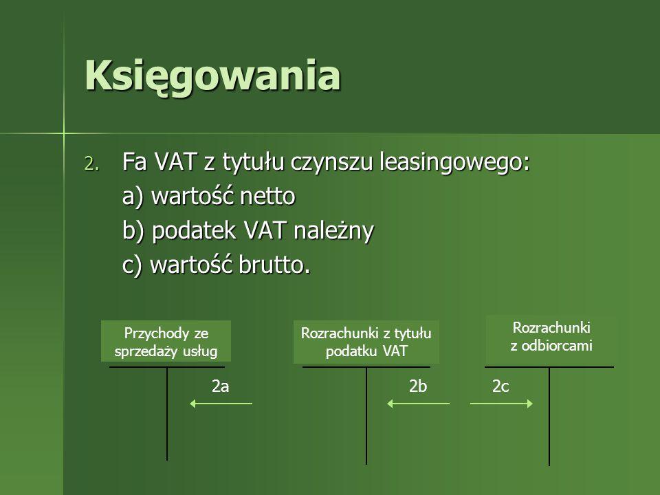 Księgowania a) wartość netto b) podatek VAT należny c) wartość brutto.