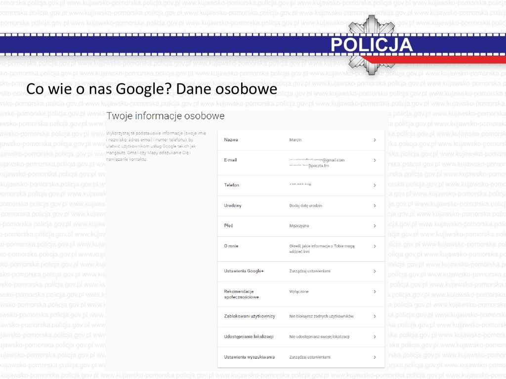 Co wie o nas Google Dane osobowe