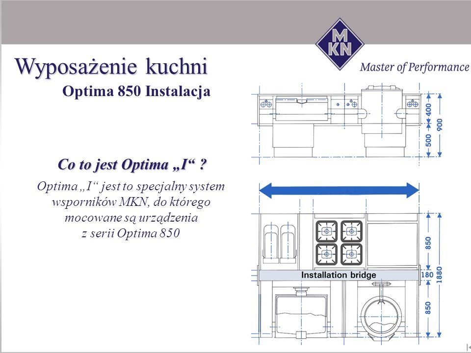 """Wyposażenie kuchni Optima 850 Instalacja Co to jest Optima """"I"""