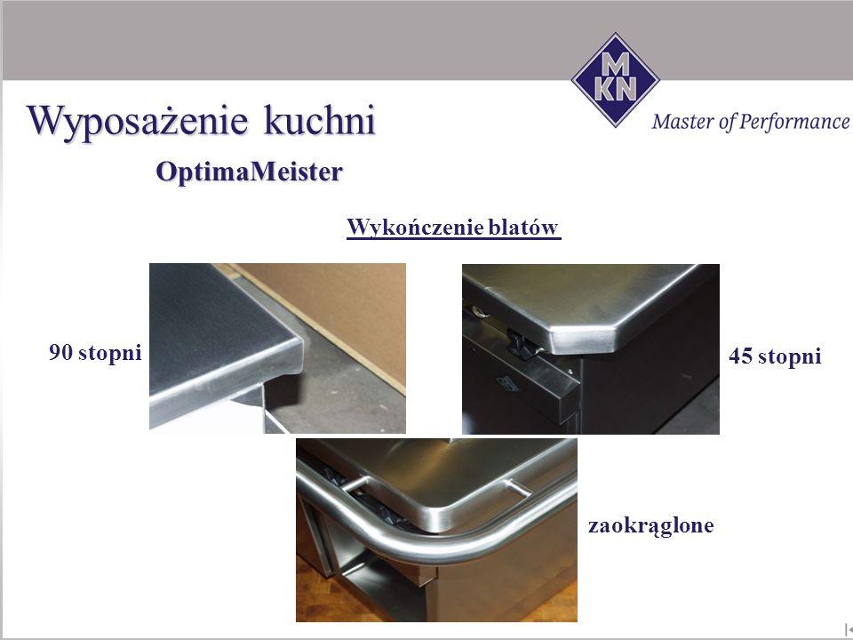 Wyposażenie kuchni OptimaMeister A,B,C Wykończenie blatów 90 stopni