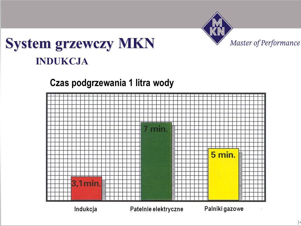 System grzewczy MKN INDUKCJA Czas podgrzewania 1 litra wody Indukcja