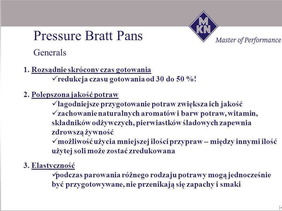 Pressure Bratt Pans Generals 1. Rozsądnie skrócony czas gotowania