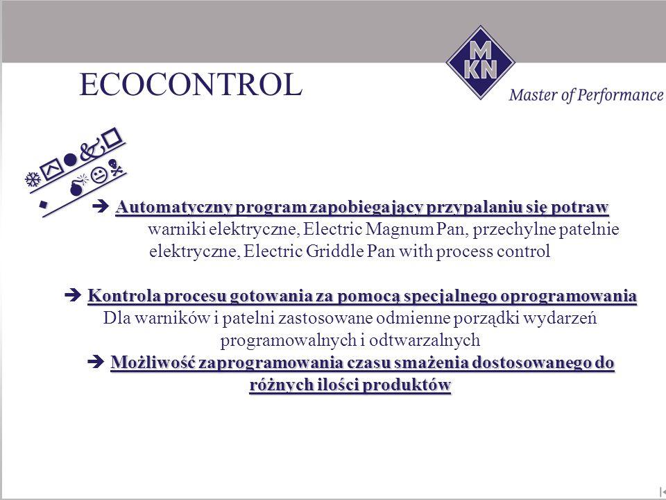 ECOCONTROL Tylko w MKN.  Automatyczny program zapobiegający przypalaniu się potraw.