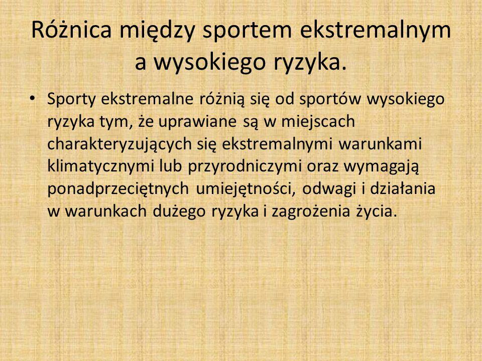 Różnica między sportem ekstremalnym a wysokiego ryzyka.