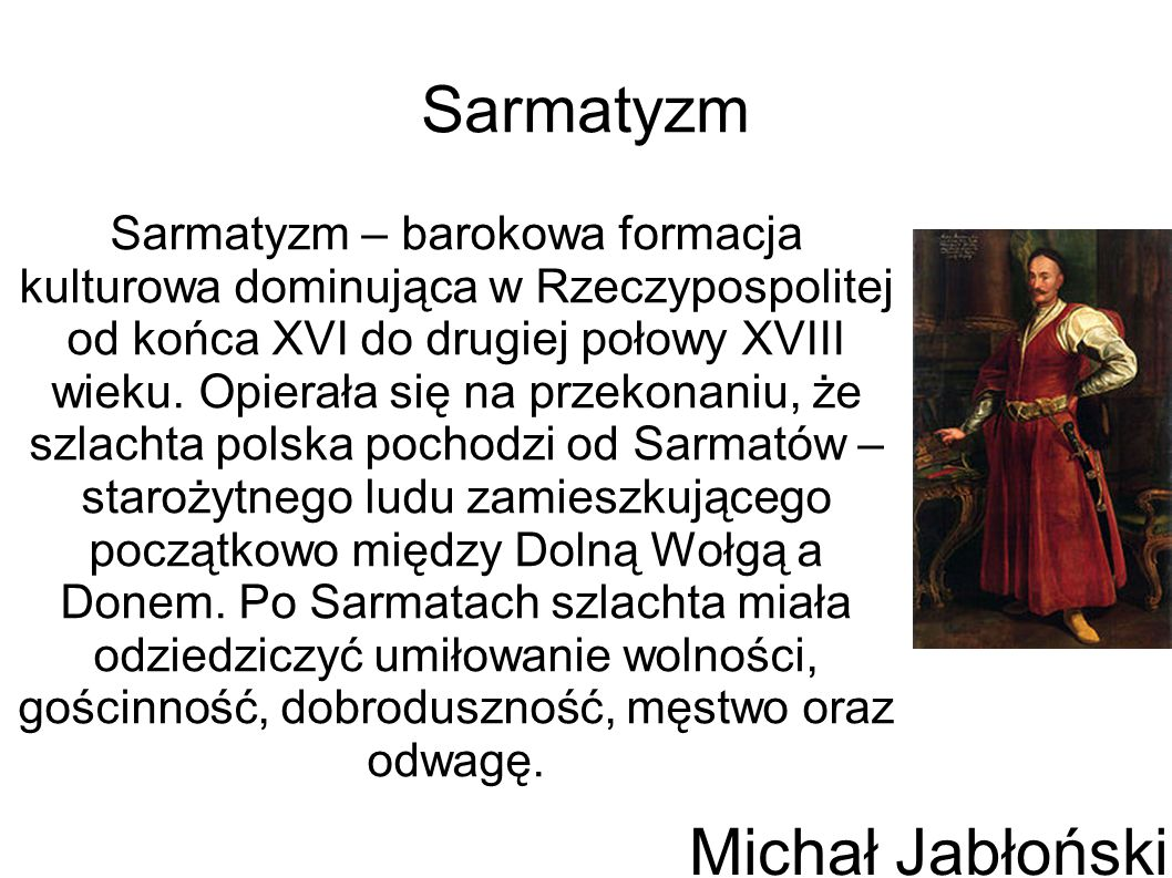 Sarmatyzm Michał Jabłoński