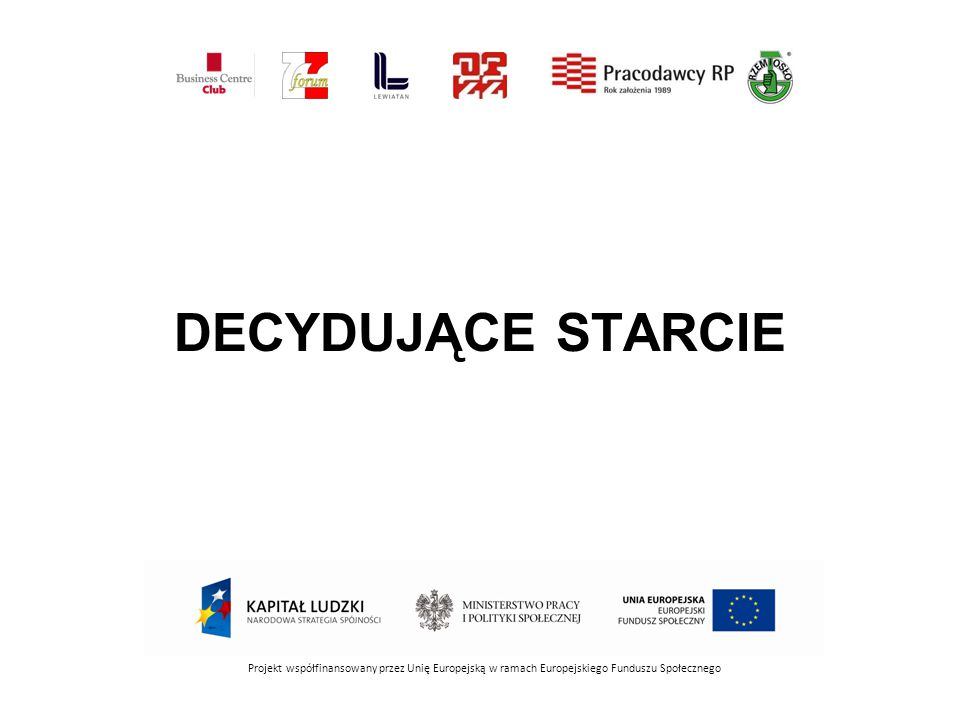DECYDUJĄCE STARCIE Projekt współfinansowany przez Unię Europejską w ramach Europejskiego Funduszu Społecznego.