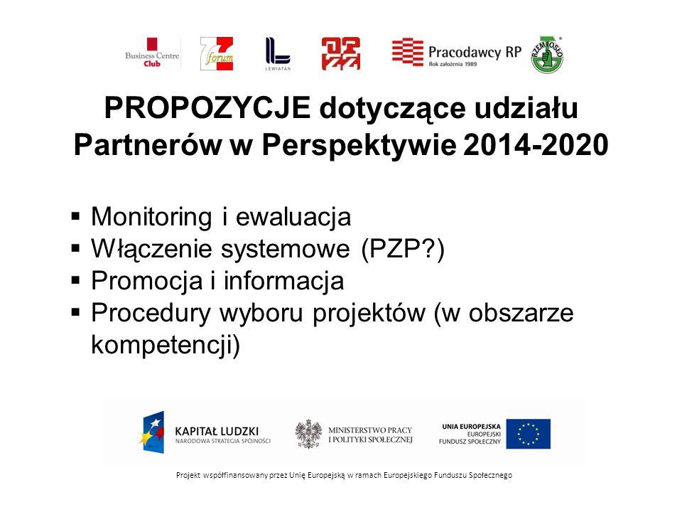 PROPOZYCJE dotyczące udziału Partnerów w Perspektywie 2014-2020