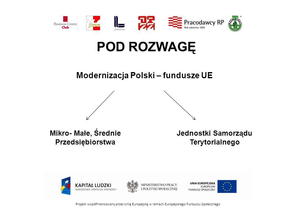 POD ROZWAGĘ Modernizacja Polski – fundusze UE Mikro- Małe, Średnie