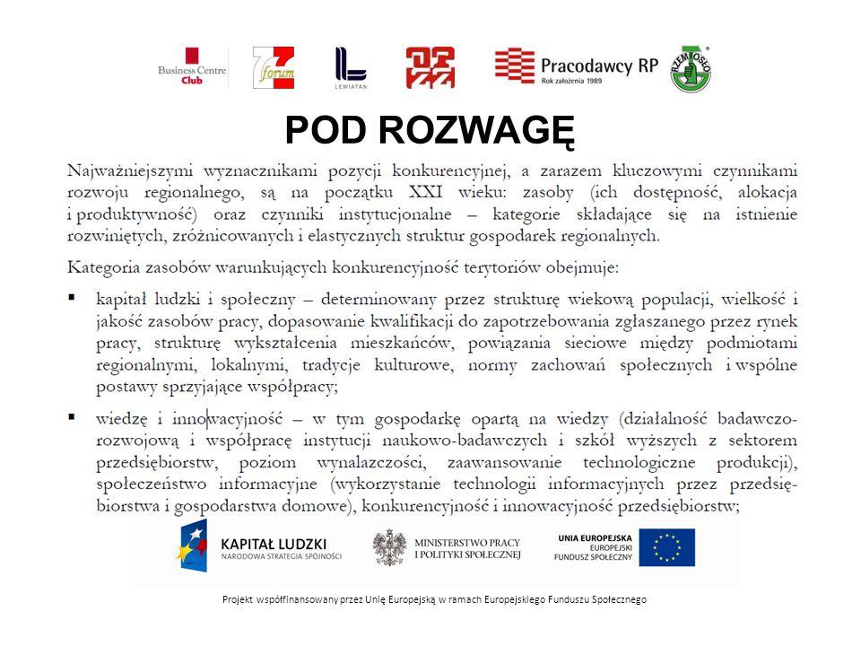 POD ROZWAGĘ Projekt współfinansowany przez Unię Europejską w ramach Europejskiego Funduszu Społecznego.