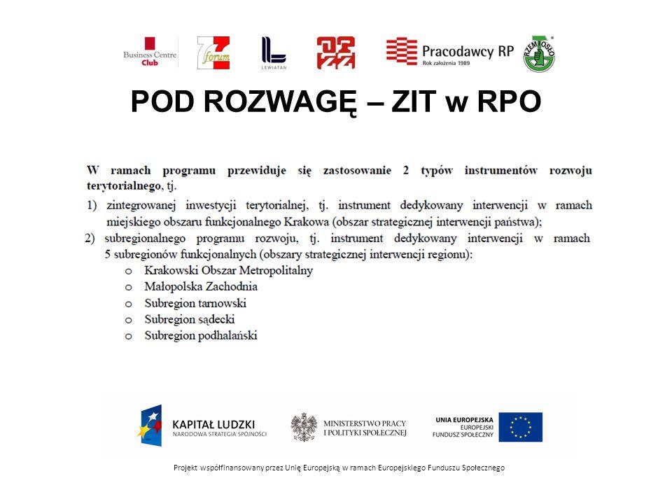 POD ROZWAGĘ – ZIT w RPO Projekt współfinansowany przez Unię Europejską w ramach Europejskiego Funduszu Społecznego.