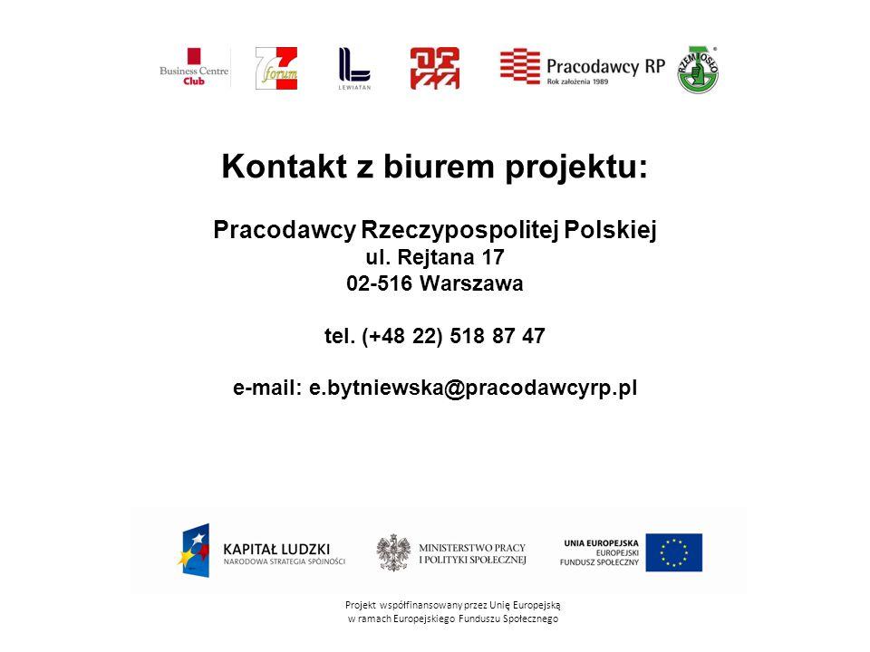 Kontakt z biurem projektu: Pracodawcy Rzeczypospolitej Polskiej ul