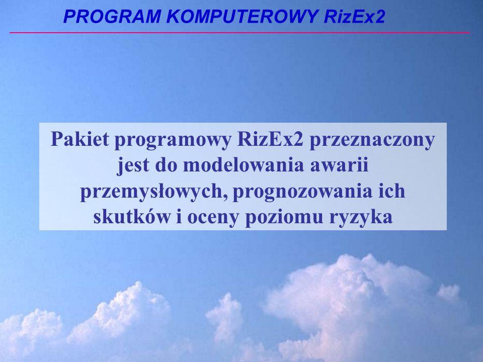 Pakiet programowy RizEx2 przeznaczony jest do modelowania awarii przemysłowych, prognozowania ich skutków i oceny poziomu ryzyka