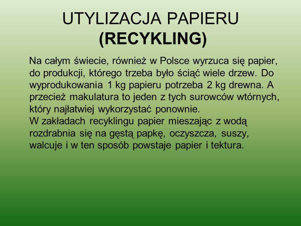 UTYLIZACJA PAPIERU (RECYKLING)
