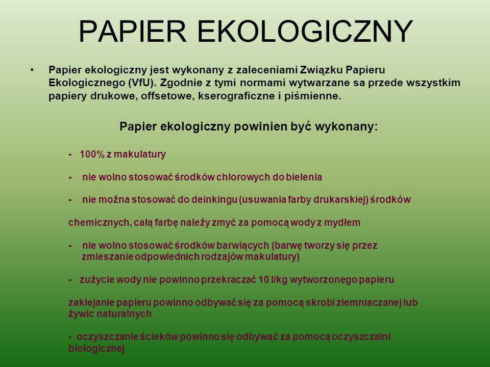 Papier ekologiczny powinien być wykonany:
