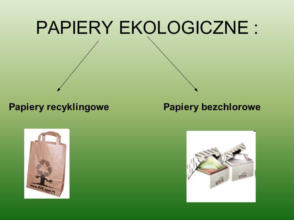 PAPIERY EKOLOGICZNE : Papiery recyklingowe Papiery bezchlorowe