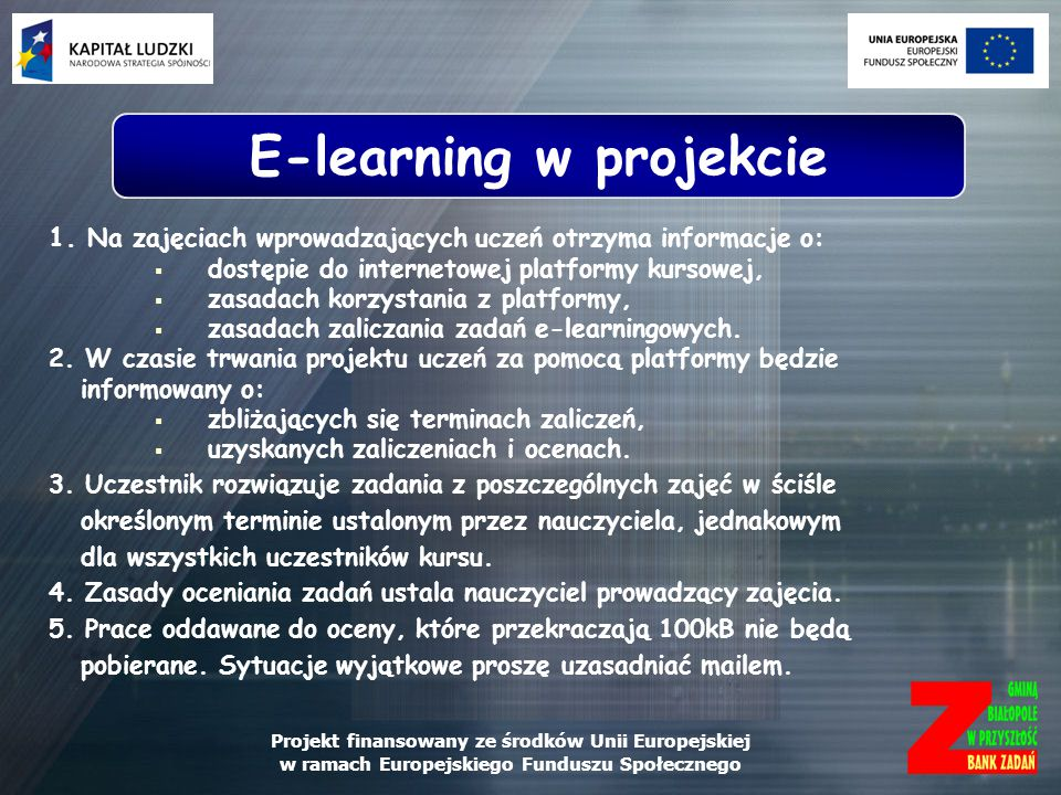 E-learning w projekcie