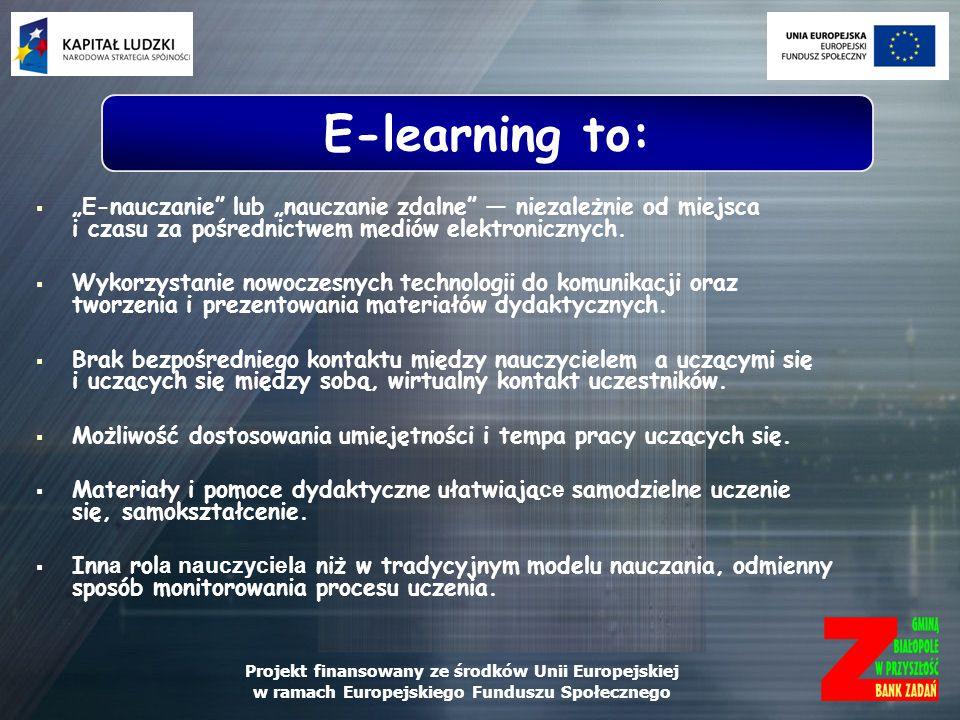 """E-learning to: """"E-nauczanie lub """"nauczanie zdalne ― niezależnie od miejsca i czasu za pośrednictwem mediów elektronicznych."""