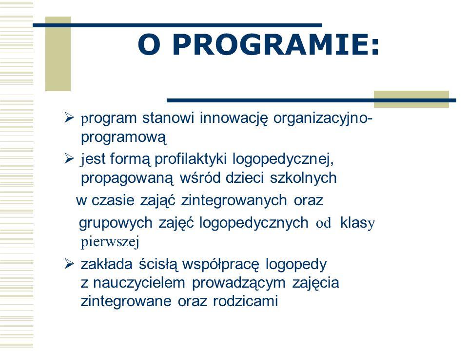 O PROGRAMIE: program stanowi innowację organizacyjno-programową
