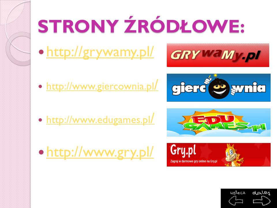 STRONY ŹRÓDŁOWE: http://grywamy.pl/ http://www.gry.pl/