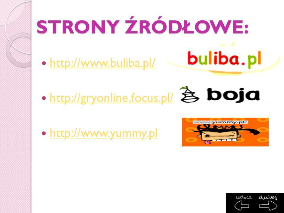 STRONY ŹRÓDŁOWE: http://www.buliba.pl/ http://gryonline.focus.pl/
