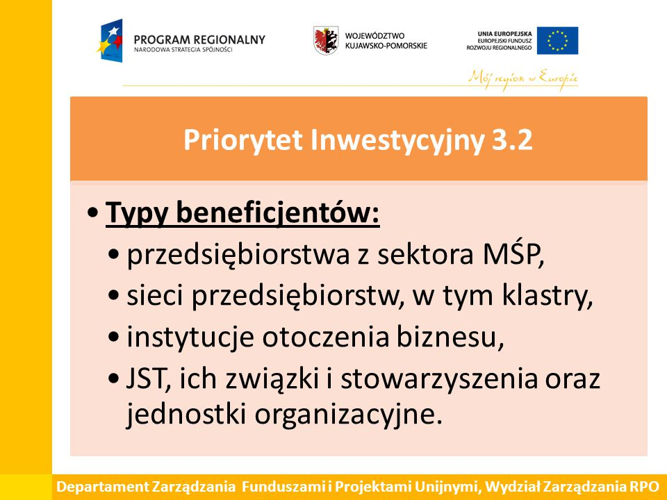 Priorytet Inwestycyjny 3.2