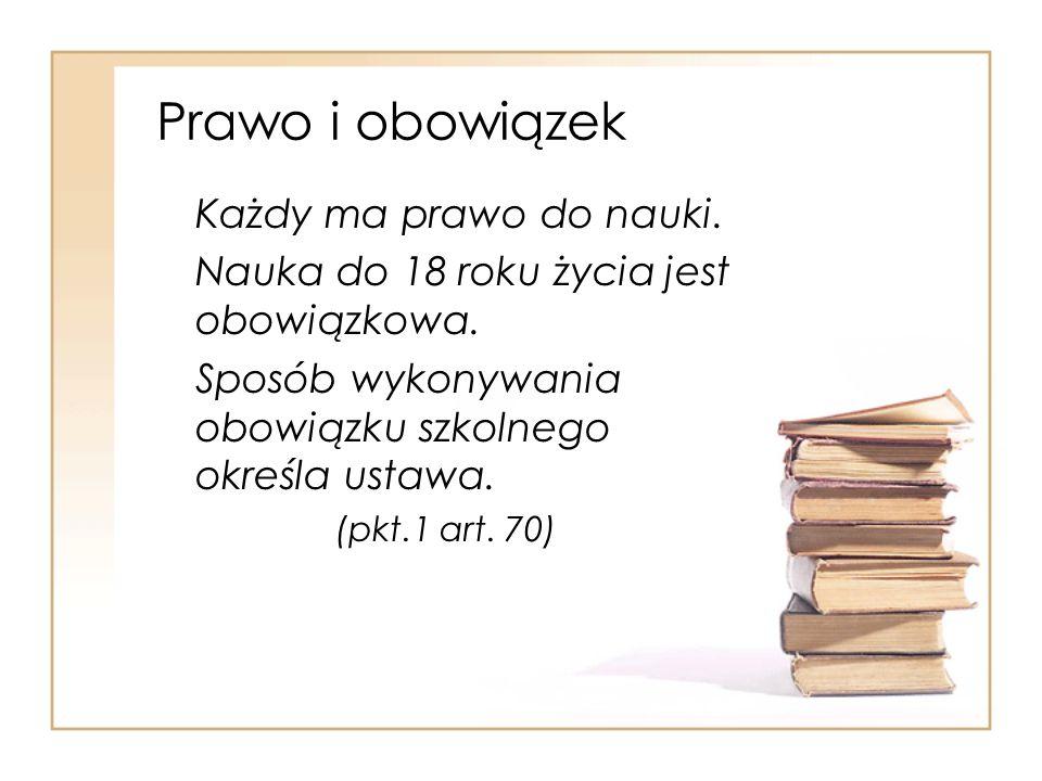 Prawo i obowiązek Każdy ma prawo do nauki.