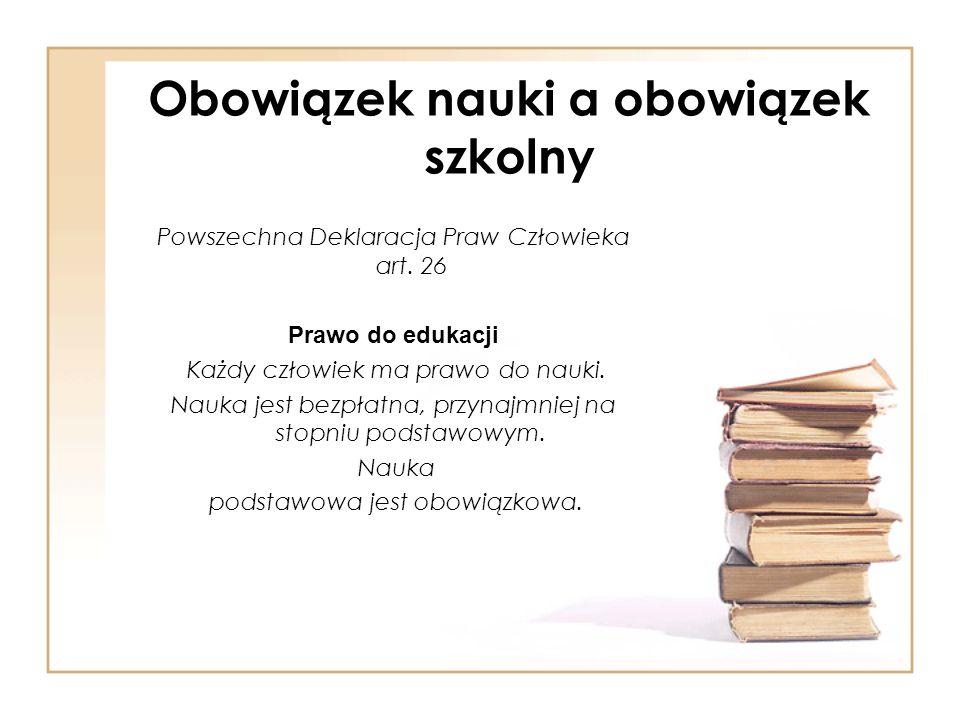 Obowiązek nauki a obowiązek szkolny