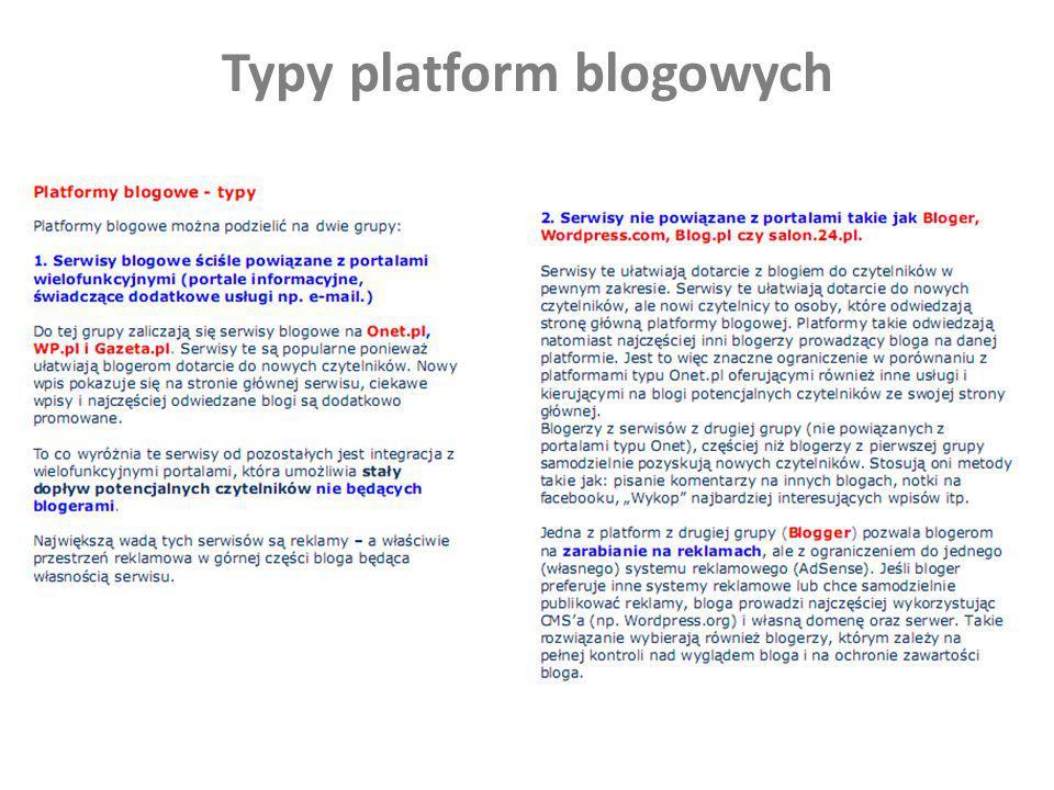 Typy platform blogowych