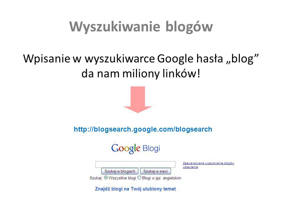"""Wpisanie w wyszukiwarce Google hasła """"blog da nam miliony linków!"""