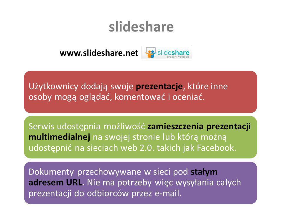 slideshare www.slideshare.net. Użytkownicy dodają swoje prezentacje, które inne osoby mogą oglądać, komentować i oceniać.