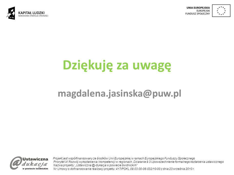 Dziękuję za uwagę magdalena.jasinska@puw.pl