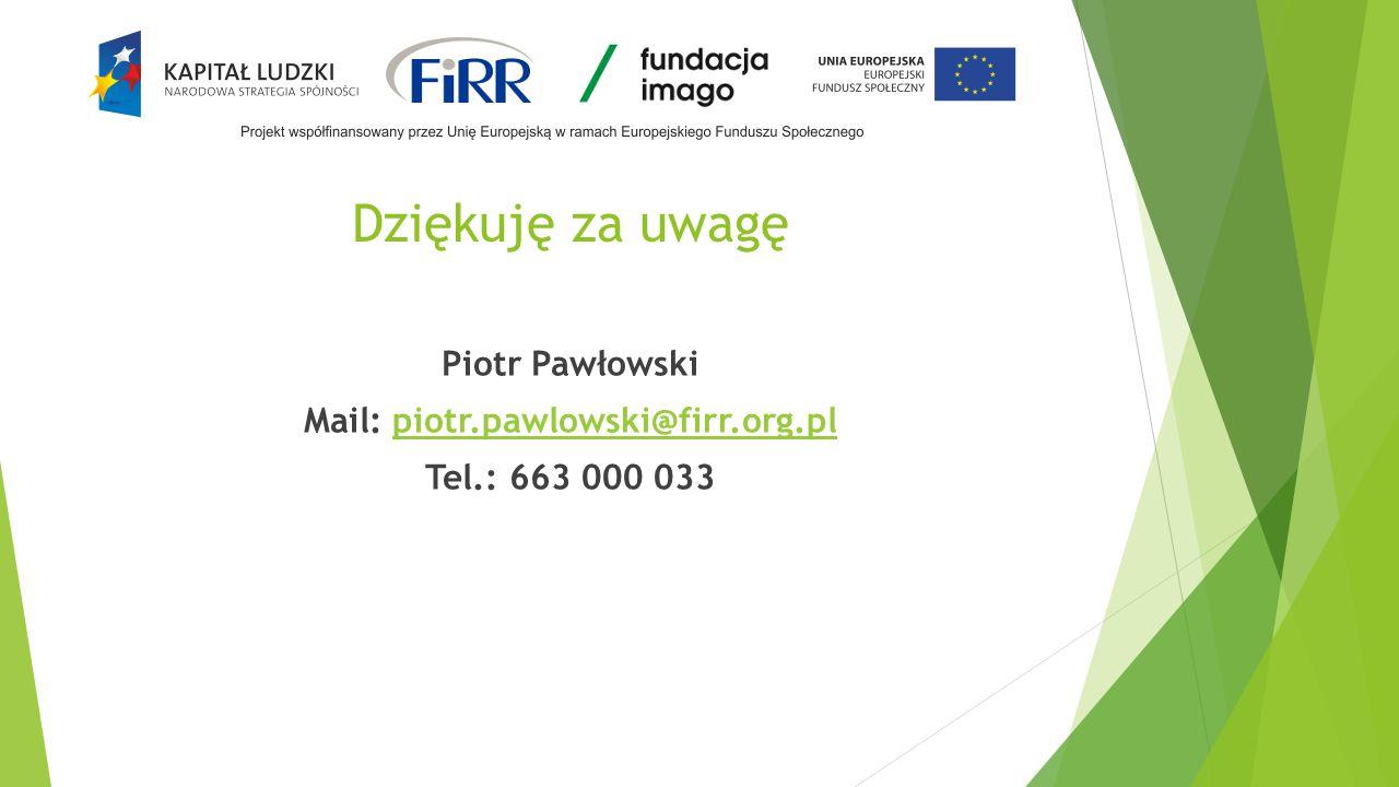 Piotr Pawłowski Mail: piotr.pawlowski@firr.org.pl Tel.: 663 000 033