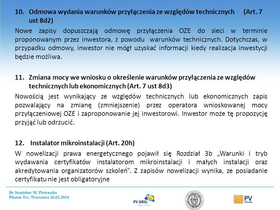 Opłacalność dotacji 1000 kWh/kW/rok PLN/kWh PLN/rok