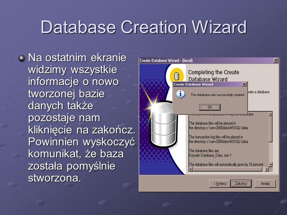 Database Creation Wizard