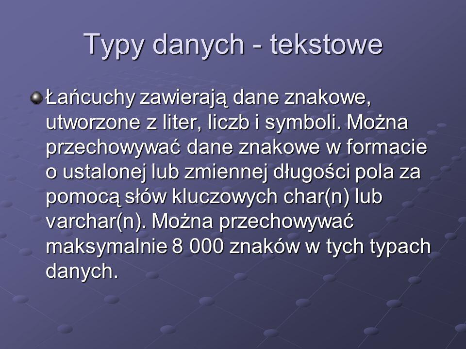 Typy danych - tekstowe