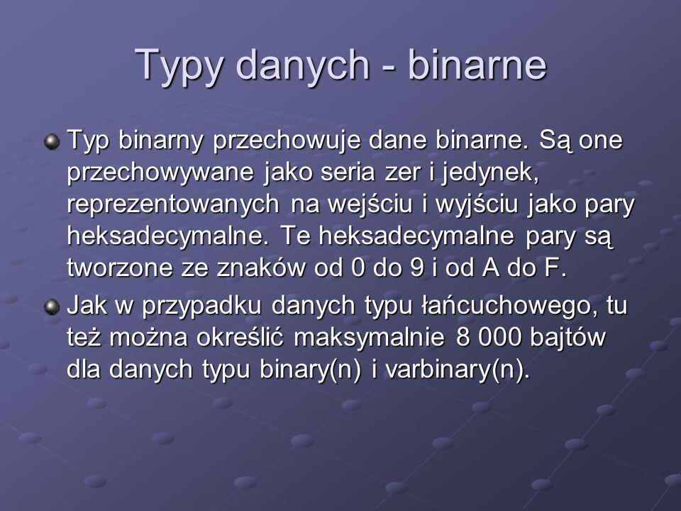 Typy danych - binarne