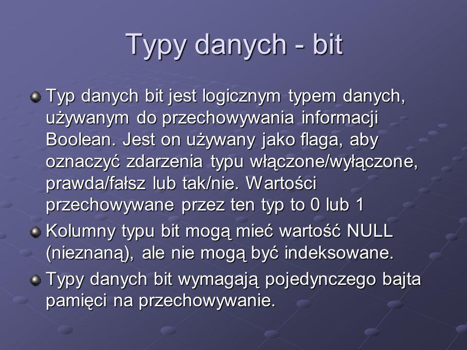 Typy danych - bit
