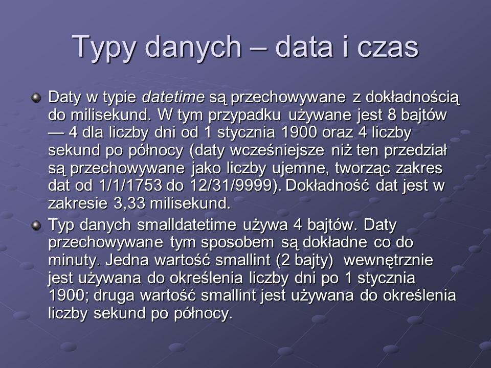 Typy danych – data i czas