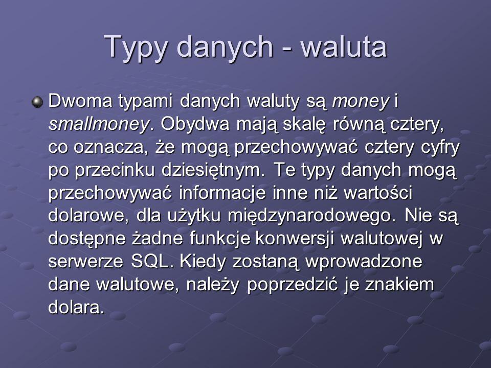 Typy danych - waluta
