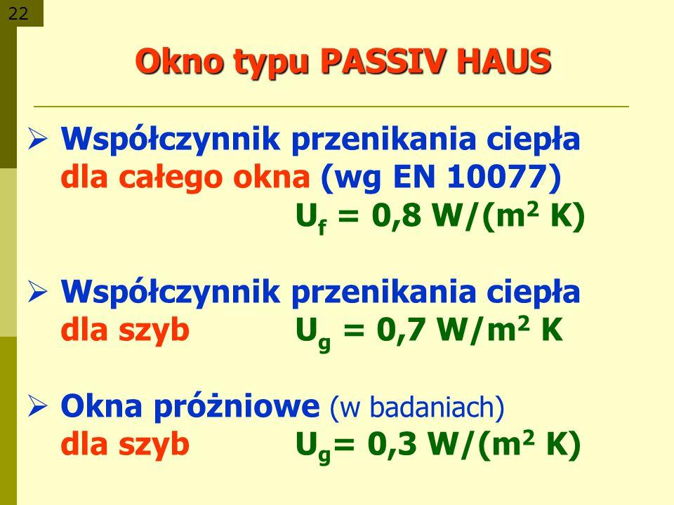 Okno typu PASSIV HAUS Współczynnik przenikania ciepła dla całego okna (wg EN 10077) Uf = 0,8 W/(m2 K)