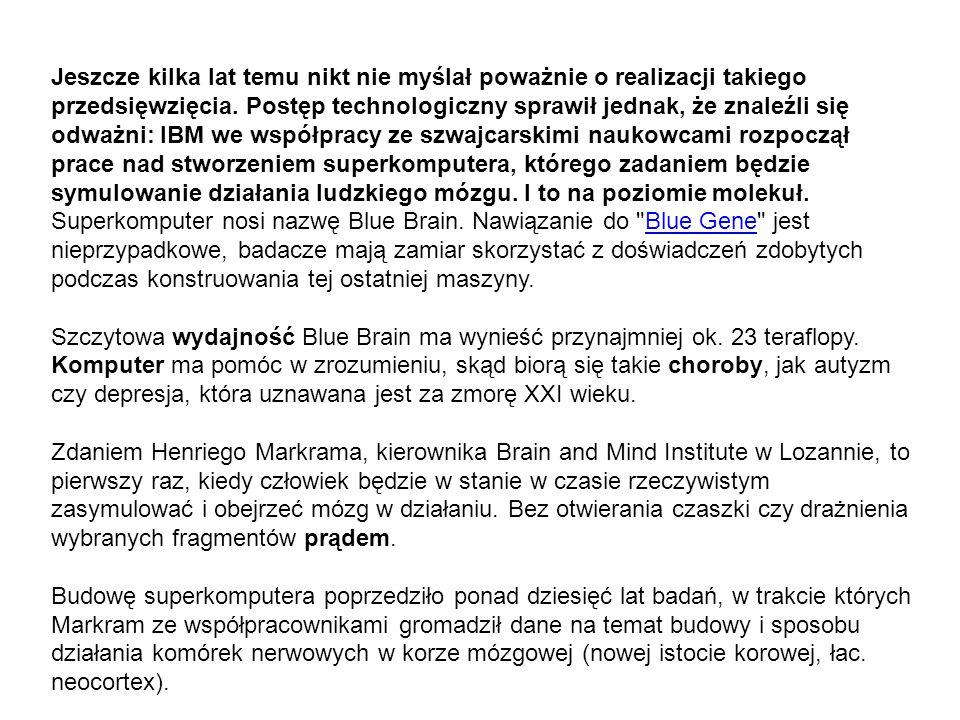Jeszcze kilka lat temu nikt nie myślał poważnie o realizacji takiego przedsięwzięcia. Postęp technologiczny sprawił jednak, że znaleźli się odważni: IBM we współpracy ze szwajcarskimi naukowcami rozpoczął prace nad stworzeniem superkomputera, którego zadaniem będzie symulowanie działania ludzkiego mózgu. I to na poziomie molekuł.