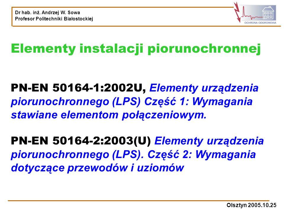 Elementy instalacji piorunochronnej