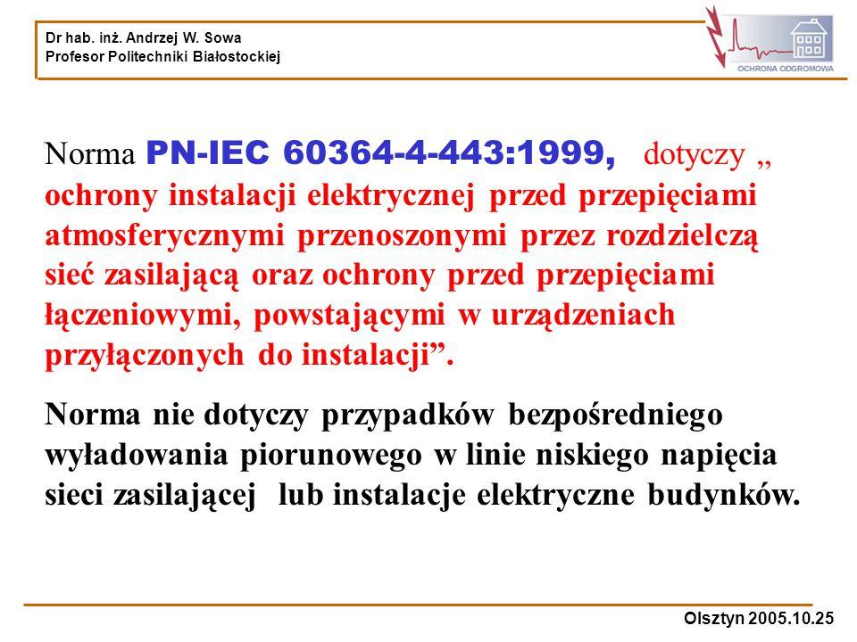 """Norma PN-IEC 60364-4-443:1999, dotyczy """" ochrony instalacji elektrycznej przed przepięciami atmosferycznymi przenoszonymi przez rozdzielczą sieć zasilającą oraz ochrony przed przepięciami łączeniowymi, powstającymi w urządzeniach przyłączonych do instalacji ."""