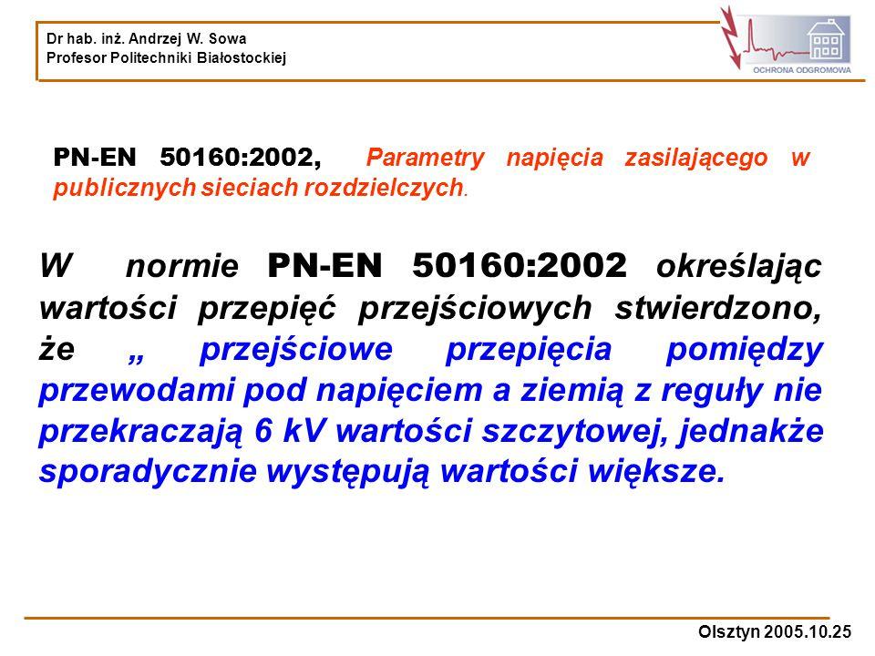PN-EN 50160:2002, Parametry napięcia zasilającego w publicznych sieciach rozdzielczych.