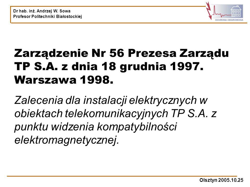 Zarządzenie Nr 56 Prezesa Zarządu TP S. A. z dnia 18 grudnia 1997