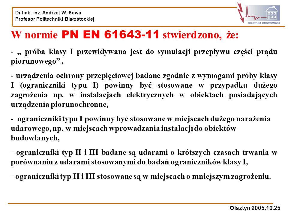 W normie PN EN 61643-11 stwierdzono, że: