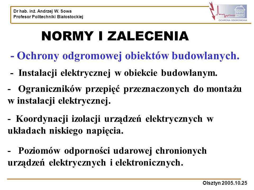 NORMY I ZALECENIA - Ochrony odgromowej obiektów budowlanych.