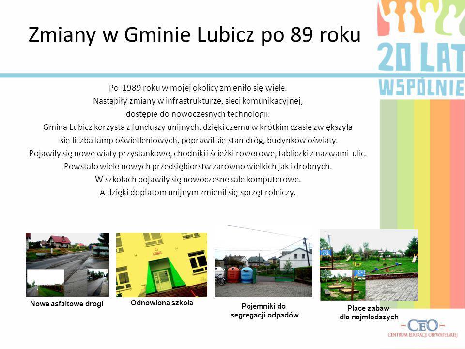 Zmiany w Gminie Lubicz po 89 roku